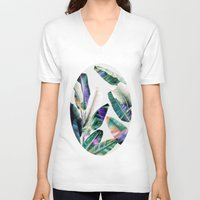 tropical V-neck T-shirts featuring tropical #1 by LEEMO