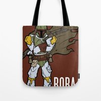 boba fett Tote Bags featuring Boba Fett by Twisted Dredz