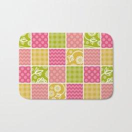 Zigzag, Polka Dots, Gingham - Green Pink Yellow Bath Mat