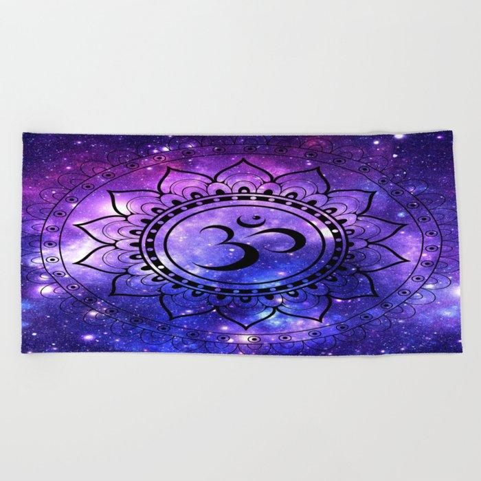 Om Mandala: Purple Blue Galaxy Beach Towel