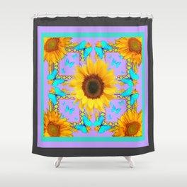 BLue Butterflies Golden yellow Sunflowers Lavender Pattern Shower Curtain