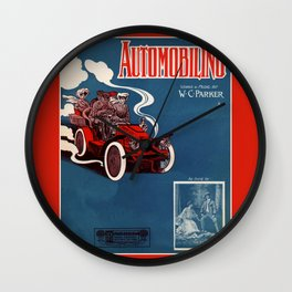 1905 Automobiling Wall Clock