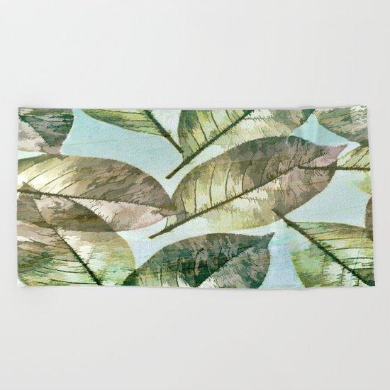 Vintage Leaf Abstract Beach Towel