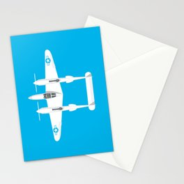 P-38 Lightning WWII Fighter Aircraft - Cyan Stationery Cards