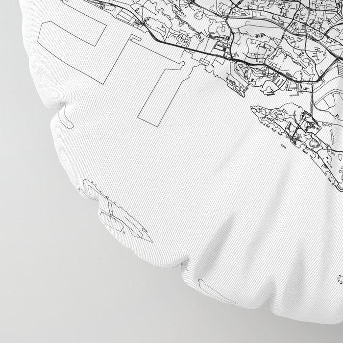 Singapore White Map Floor Pillow