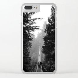 misty capilano suspension bridge Clear iPhone Case