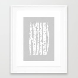 Woodcut Birches Grey Framed Art Print