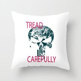 Tread Carefully Skull Throw Pillow