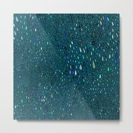 Blue Rain on a Window Metal Print