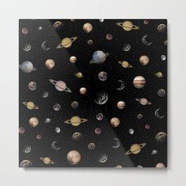 Planets, Moons & Stars Metal Print