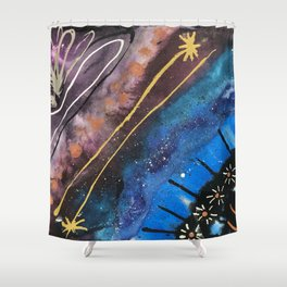 Jewel Toned Abstract with Floral Details Shower Curtain
