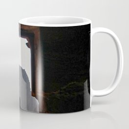 Guy in the Doorway | Exotic Travel Photography Distant Landscape Coffee Mug