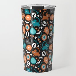 Funny Halloween pattern with kittens Travel Mug