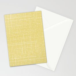 Mustard Yellow Textured Check Stationery Cards