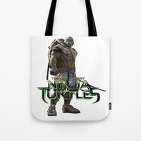 ninja turtle Tote Bags featuring ninja,turtle by ira gora