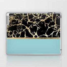 Elegant black teal faux gold modern marble Laptop & iPad Skin