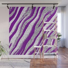 Graysexual Pride Diagonal Furry Wavy Stripes Wall Mural