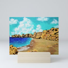 Beach In Albufeira, Portugal by Mike Kraus - seascape beach europe swimming cliffs sky clouds teal Mini Art Print