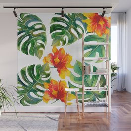 Monstera And Hibiscus Wall Mural