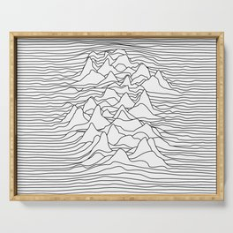 Black and white graphic - sound wave illustration Serving Tray