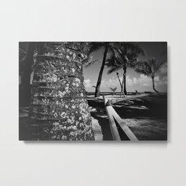 Kuau Beach Palm Trees and Hawaiian Outrigger Canoe Paia Maui Hawaii Metal Print