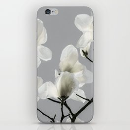 Gray Magnolia and White iPhone Skin