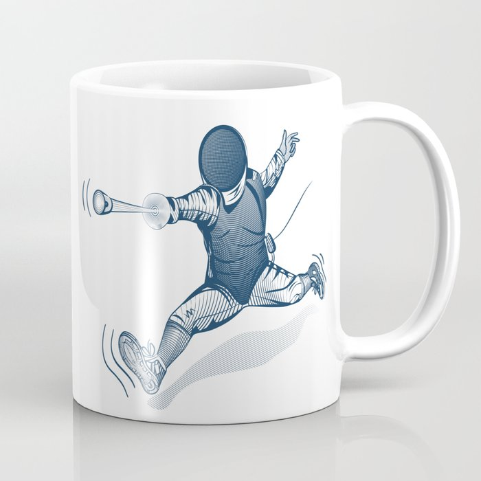 Fencer. Print for t-shirt. Vector engraving illustration. Coffee Mug
