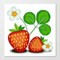 strawberry Canvas Prints featuring Strawberry by LaDa