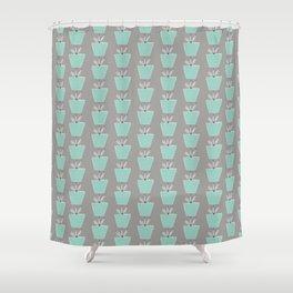 Potted Plants   Aqua & Gray Shower Curtain