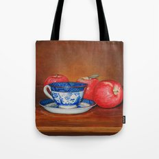 Teacup with Three Apples Tote Bag