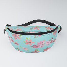 Cherry Blossoms - watercolour blooms on aqua Fanny Pack