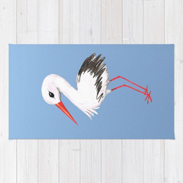 Cute stork watercolor painting Rug