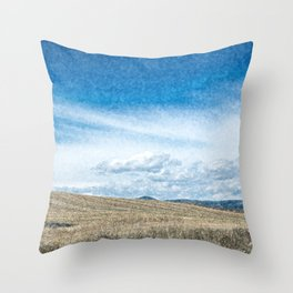 Countryside of Italy with rolling hills and hay balls Throw Pillow