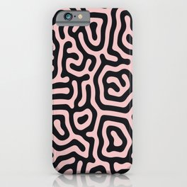 Pink and blackthick large geometrical curved labyrinth lines for home decoration. iPhone Case
