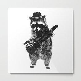 Raccoon wielding ukulele Metal Print