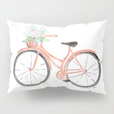 Coral Spring bicycle with flowers Pillow Sham