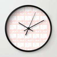 cherry Wall Clocks featuring Cherry by Pattern Variety