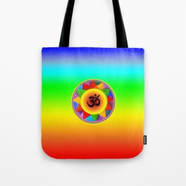 Ohm with Chakra Colours Tote Bag