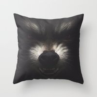 rocket raccoon Throw Pillows featuring ROCKET RACCOON by yurishwedoff