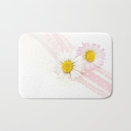 Spring Flowers White and Pink Bath Mat
