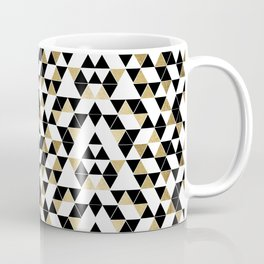 Modern Black, White, and Faux Gold Triangles Coffee Mug