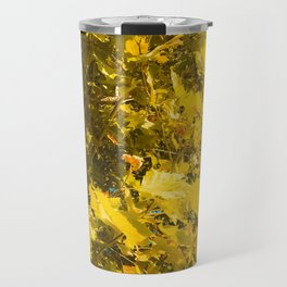 closeup yellow leaves texture abstract background Travel Mug