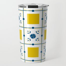 Talavera, blue and yellow flowers Travel Mug