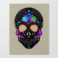 calavera Canvas Prints featuring Calavera by Ana Victoria Calderón