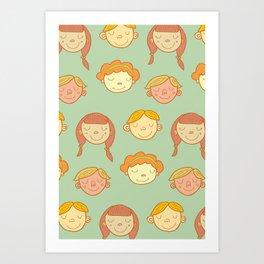 happy little faces. Art Print