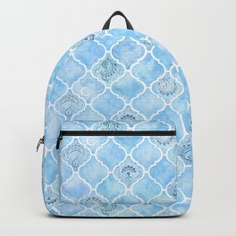 Watercolor Arabesque Tiles with Art Nouveau Focal Designs in Blue Backpack