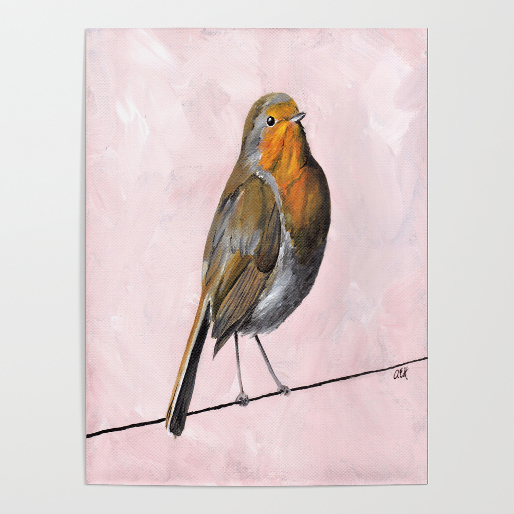 Robin Redbreast, Orange Bird Art Poster by Ahockenberry (POS7715409) photo