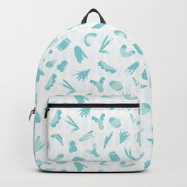 Light Blue and White Abstract Cut Out Shapes Backpack
