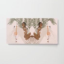 Summer Flamingo pink Metal Print