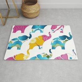 Vintage Pink Floral & Blue Elephant Print Rug